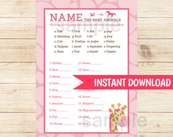 Pink Giraffe Name the Baby Animals Matching Baby Shower Game | Girl Baby Shower Game Printable PDF INSTANT DOWNLOAD bs-024