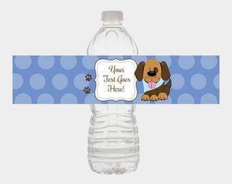 Handsome Puppy Dog Water Bottle Labels | Boy Dog Baby Shower Favors Print Your Own DIY file INSTANT DOWNLOAD bs-106