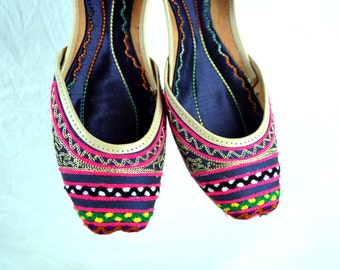 Vintage Leather Embroidered Ethnic Slipper Genie Shoes Slippers Flats - Size 7