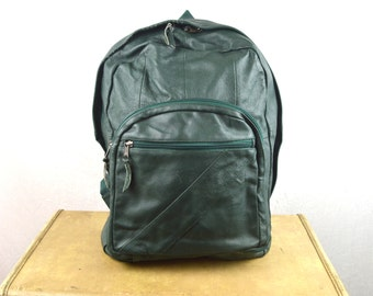 Vintage 1990s Green Leather Backpack