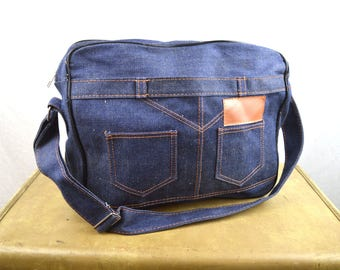 Vintage 70s 80s Denim Jean Day Bag Tote Satchel