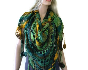 Euphrates scarf- River greens, several shades of green,brown and mustard. Boho scarf , Crochet lace scarf with fringes-Handmade boho scarf