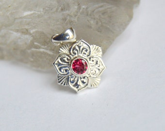 White Gold Pendant, Lily Pendant, Spinel Pendant, 3.5mm Burmese Spinel, Engraved Necklace, Red Gemstone Pendant