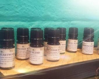 Collection of 5 Herbal Essential Oils.  Rosemary, Basil, Sage, Marjoram, Oregano.