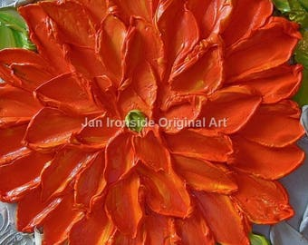 Original Oil Painting, Fine Art, Orange Dahlia , Oil Painting