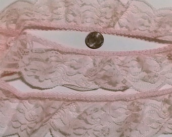"""3 Yds, 2 1/4"""" W, Pink Ruffled Lace, 1970s Lace, Gathered Lace, Craft & Sewing Supplies, Doll Trim, DIY Lace Trim, Sewing Projects"""
