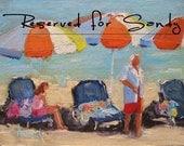 Wall Art, FRAMED Ready to Hang Art, Beach Art, Seascape Art, Ocean Art, Umbrella Art, Beach Decor 'Beach Weekend' by AndolsekArt