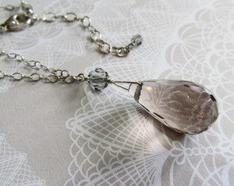 Sterling Silver Smoky Quartz & Swarovski Crystal Adjustable Necklace on Etsy by APURPLEPALM
