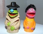 Sesame Street Finger Puppets Jim Henson's Muppets 1970's Roosevelt Franklin Matt Robinson Frank Oz Kermit the Frog Detective Muppet with hat