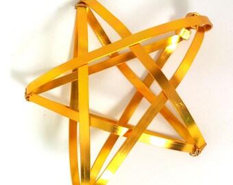 Golden Star Tree Topper -  metal star handmade tree topper - small / medium - gold - basket star, tree star, 1212E