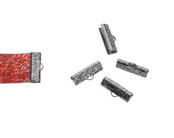 16pcs.  20mm  (3/4 inch)  Gunmetal Ribbon Clamp End Crimps - Artisan Series