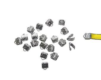 150pcs.  6mm  (1/4 inch) Gunmetal Ribbon Clamp End Crimps - Artisan Series