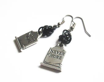Silver gravestone earrings, Tombstone jewelry, Gothic grave earrings, Nevermore earrings, Raven earrings