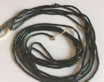 Vintage European Glass Bugle Beads -  GREEN IRIS METALLIC