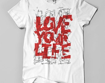LOVE YOUR LIFE - Men's T-Shirt (red and black on white)