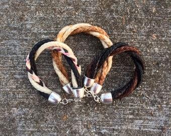 Custom Twisted Three Strand Horse Hair Braided Horsehair Bracelet