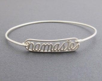 Namaste Jewelry, Sterling Silver Yoga Bracelet, Yoga Jewelry, Namaste Jewelry, Yoga Fashion, Namaste Bangle