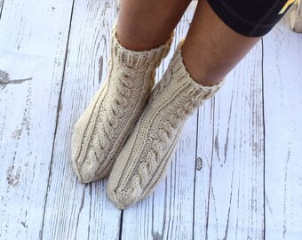 Hand knit socks cable knit socks bed socks off white linen neutral color cottage chic womens socks gift for her handmade girls socks