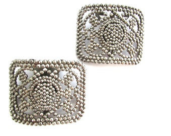 Cut Steel Shoe Clips Buckles French Flowers France Antique Large Holfast Clips