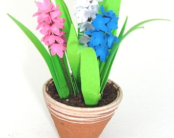 FLOWER Kit 6 MIXED HYACINTHS  for dolls house Spring garden, miniature flower, scrapbooks