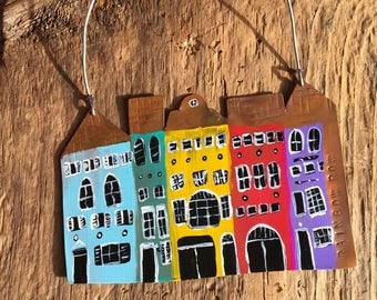 Charleston's Rainbow Row, Rainbow Row, East Bay Street, Row Houses, Colorful Houses, Folk Art, Folk Ornament, Copper Ornament, Handpainted