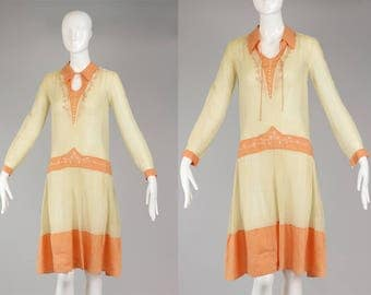 1920s Peasant Dress / 1920s Smocked Day Dress / Embroidered Cotton Organza Made in Belgium