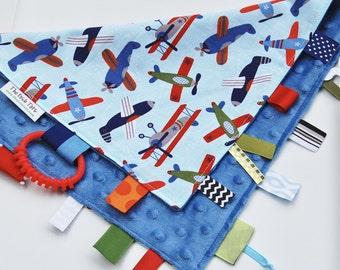 Baby Boy Blanket - Ribbon Lovey -  Tag Blanket - Airplane