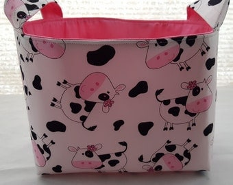 Organizer Storage Basket Bin Fabric - Tossed Cows White with Pink Bows
