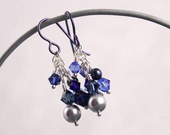 Blue Cluster Earrings, Swarovski Crystal and Pearl, Cascade, Moonlit Night