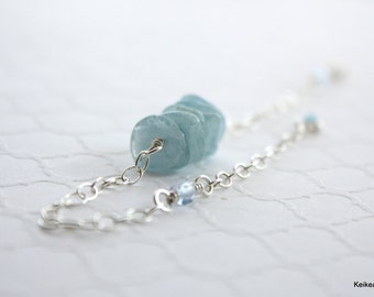 Aquamarine Bracelet , March Birthstone Gift , Handmade Jewelry