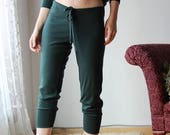 wool lounge pants with cuffs and drawstring in double knit fine stretch jersey - HEARTH - made to order