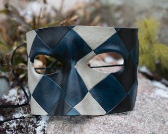 Harlequin Masquerade Leather Mask
