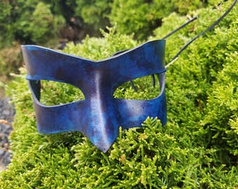 Blue Leather Masquerade Mask