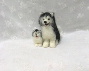 Malamute Dog and Puppy