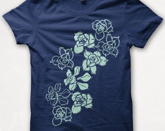 Womens Tshirt Succulents Fitted Flower Shirt Plants Screenprinted Graphic Tee - Navy