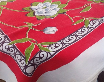 Vintage red, green, and white floral flower tablecloth.
