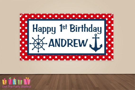HAPPY BIRTHDAY Banner Nautical Birthday Decoration Nautical Party