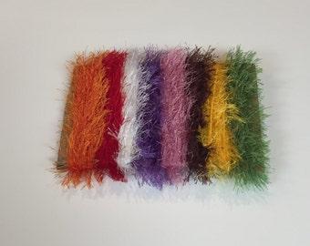 ice yarns SAMPLES fiber art bundle cards ALL EYELASH orange red white green brown pink yellow lavender scrap booking knitting crochet supply