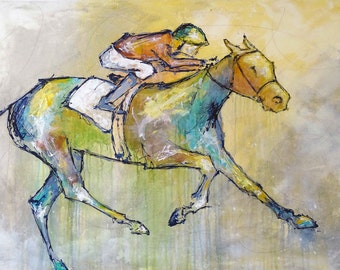 Large Horse Painting, Equestrian art, original Race Horse painting, canvas art, abstract, horse art, Fine Art, acrylic painting, Liz Wiley