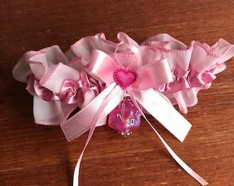 D20 garter pink garter borealis dice gamers wedding bridal accessory geek rpg dice pink dungeons and dragons garter pathfinder bride
