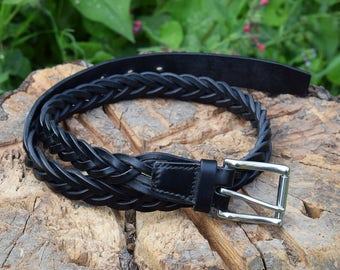 "Braided Leather Belt with Stainless Steel Buckle - 1"" 1/4 wide"