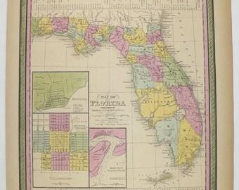 1852 Antique Florida Map, Original Vintage FL Map, 1852 Mitchell Map of Florida, Cowperthwait, Gulf Coast Decor, Florida Gift for Husband