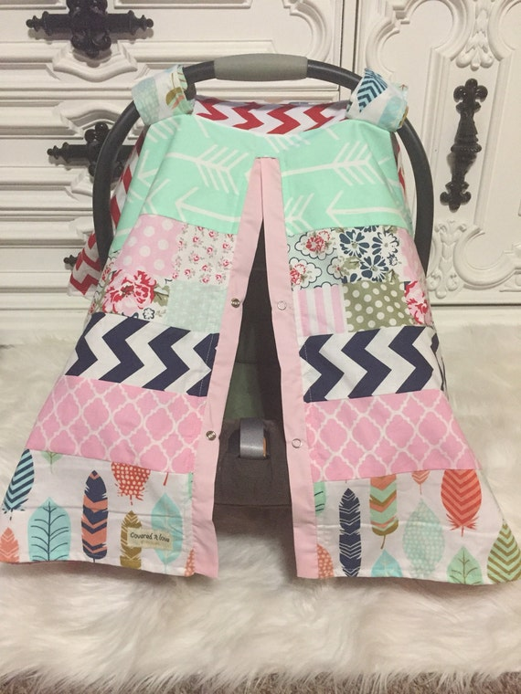 car seat cover / OOAK / carseat canopy / nursing cover / carseat cover /girl / arrow / infant car seat canopy / carseat cover/ RTS