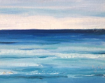 "Zen Moment, original oil painting on canvas board. Yvonne Wagner. 6"" x 8"", (15 x 20 cm.)  Meditation. Sea. Calm."