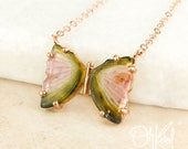 Rose Gold Watermelon Tourmaline Butterfly Necklace - Butterfly Pendant - 14Kt Rose Gold Filled