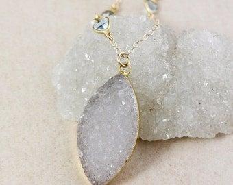 50 OFF SALE Grey White Leaf Druzy Necklace – Blue Topaz