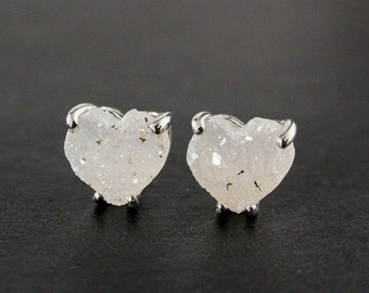 CHRISTMAS SALE Silver Heart Druzy Studs - Sterling Silver - Choose Your Druzy