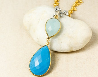 Gold Aqua Chalcedony & Blue Turquoise Teardrop Necklace - Pyrite Chain - Layering Necklace
