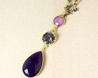 20% OFF SALE Gold Druzy & Purple Chalcedony Teardrop Necklace - Statement Necklace - Choose Your Pendant