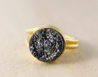 50% OFF Black Titanium Coated Druzy Ring – Gold Plated